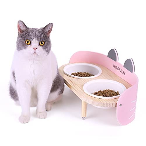 Katzennapf, Doppelte Keramik Futternapf Katze mit rutschfest Erhöhtem Massivholz Ständer, No Spill Katzen Futternapf Reduzieren Sie Nackenschmerzen für Hunde und Katzen (Pink)