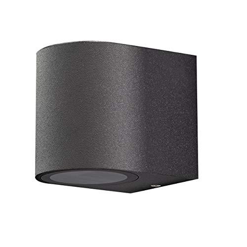 Aplique de pared exterior de aluminio. 1x GU10 para LED y halógeno. Pantalla difusora de cristal. Color negro