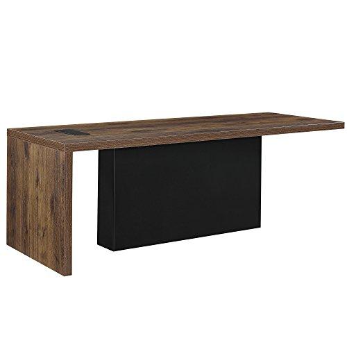 [Neu.Haus]® Bureau Design Table Stylé de Haute Qualité avec Prises VGA USB MDF Laqué Métal 220 x 80 x 77 cm Effet Chêne Fumé