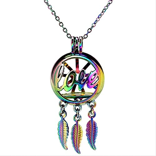 gujiu Arco Iris Color Dream Catcher Beauty Live Live Redondo Locket Locket Colgante Aroma Aceite Esencial Difusor 28'Collar