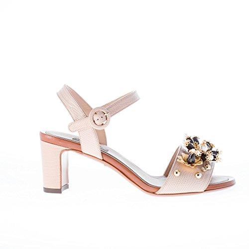 Dolce & Gabbana Donna Sandalo in Pelle Stampa Iguana Beige con Applicazioni Gioiello. Tacco 7 cm Color Beige Size 36