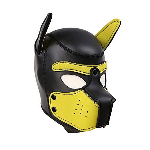 Dleuan Unisex Capucha máscara Cubierta de Cabeza Completa Transpirable Adultos Sombrero Perro Animal Sexy Boca Abierta Cara Cosplay Novedad Disfraz