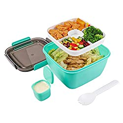 small Salad Lunch Container – A large 51 oz salad bowl with a removable 3-piece lunch-style salad bowl …