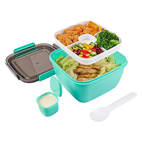 Salad Lunch Container - Toursion Large 51-oz Salad Bowl with Removable 3-Compartment Bento-Style Tray, 2-oz Sauce Container for Dressings, Microwaveable, BPA-Free, Built-In Reusable Fork (Green)
