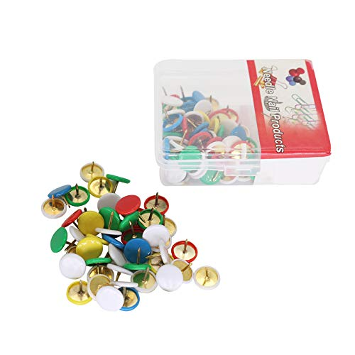 100Pcs Push Pins, 3/8-Inch Plastic Round Head, Multi-Color Thumb Tacks for Photos Wall, Maps, Bulletin Board or Cork Boards - 5 Color