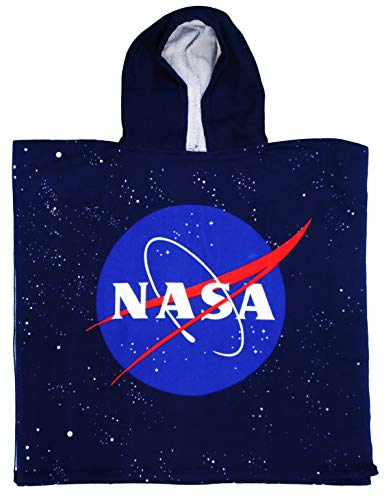 NASA Toalla poncho de poliéster con capucha para niños, 55 x 55 cm