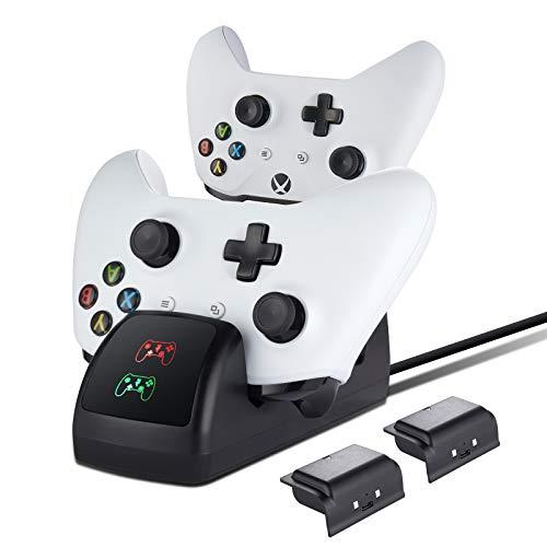 Cargador Mando para Xbox One , Estación de Carga Base de Cargador Recargable Bateria Accesorios para Xbox One/ Xbox One S/Xbox One X/Elite Controlador, 2x 1200mAh bateria
