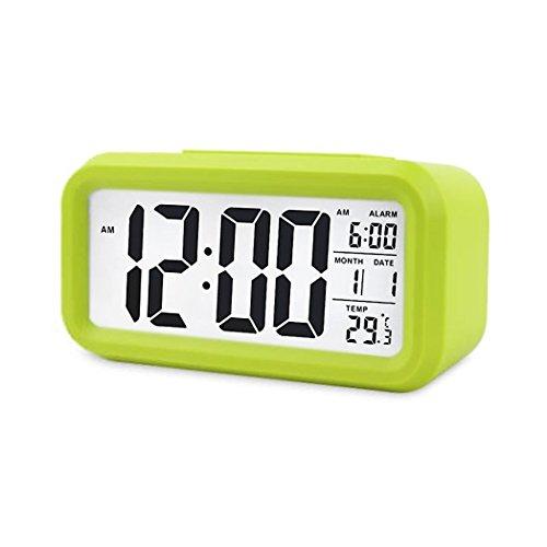 Digital Night Sensor Despertador LED Snooze Button Despertador–Iluminación Viaje activa Sensor de luz para alarma Luz de fondo medium verde
