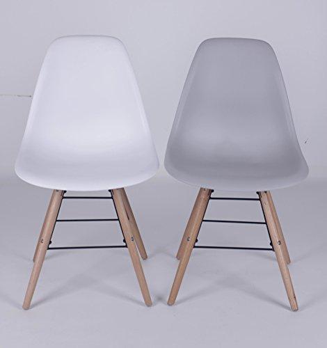 Orleans Designerstoel, wit, stoel, zonder armleuning, modern, opvallende kuipstoel, eetkamerstoel, houten onderstel, houten poten van beuken