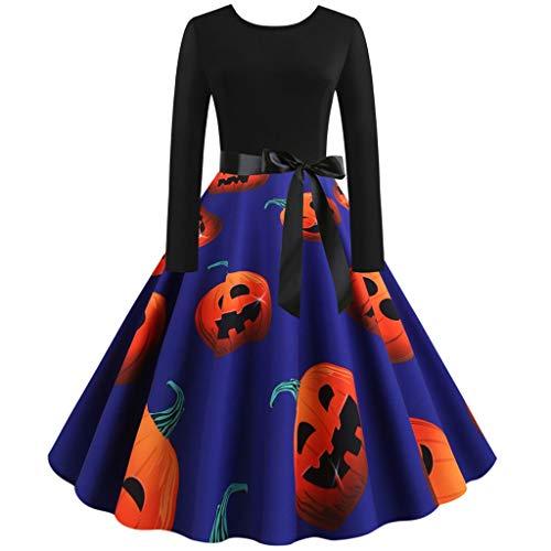 Reooly Vestido Estampado de Halloween, Vestido de Noche Medieval con Bola de Manga Larga para Mujer Vestido de Noche con Cremallera de Cuello Redondo