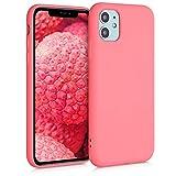 kwmobile Cover Compatibile con Apple iPhone 11 - Custodia in Silicone Effetto Gommato - Cover Back Case Protezione Cellulare - Corallo Fluorescente