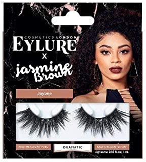 Eylure Jasmine Brown, False Lashes, Curly Queen, Adhesive Included, Reusable, 1 Pair