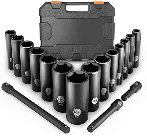 Douilles à Chocs, Coffret de douilles à chocs,18Pcs (Includes Extension Set 3Pcs) 1/2 Inch Deep Impact Compass Set, Grips, Metric, 6 Points, 10-24mm
