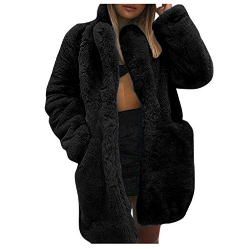 TRENDINAO 겨울 두꺼운 가짜 푸 코트 따뜻한 긴 소매 럭스 목도리 칼라 특대 테디 재킷