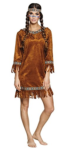 Scheues Reh Indianerin Damen Kostüm in Wildleder Optik Gr. S Erwachsene Squaw Kleid