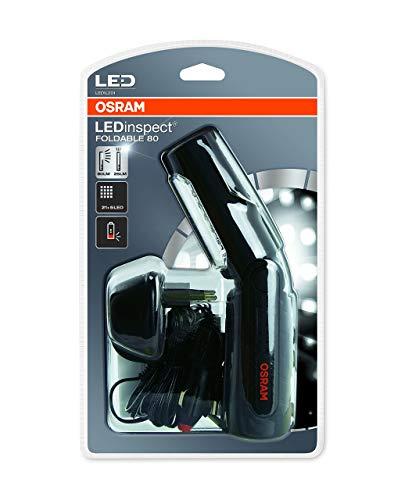 LEDinspect HOME FOLDABLE 80 de OSRAM, lámpara con LED recargable para inspecciones y trabajos de taller, iluminación de trabajo con batería, LEDIL201, especial para trabajos en el vehículo en su garaje, estuche (1 unidad)