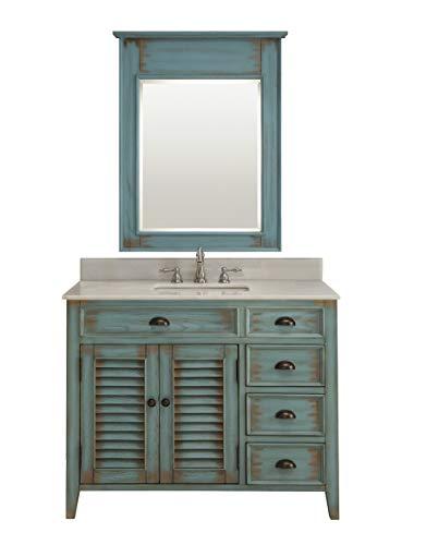 42' Abbeville Farmhouse Rustc Blue Bathroom Vanity with Mirror CF-78888BU-MIR
