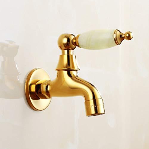 PajCzh wastafel wastafel kranen natuurlijke jade goud koper hoofdlichaam wasmachine kraan dweil zwembad snel open enkele koude kleine kraan in de muur D
