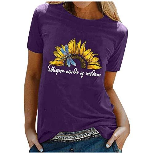 Tee Shirt t Shirt Damen T-Shirt Bluse Tops Frauen Casual Letter Printing Kurzarm O-Neck Loose (XXL,1lila)