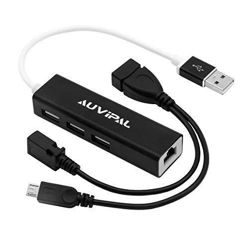 AuviPal - Adattatore LAN Ethernet con 3 porte USB Hub per Streaming TV Stick, Chromecast, Google Home Mini, Raspberry Pi Zero - Cavo Micro USB OTG incluso