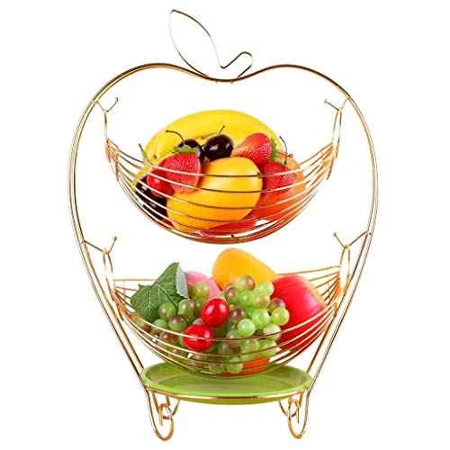 Thuis grote pols Gouden Fruit Mand, Dubbele Laag Swing Opslag Mand Fruit Bowl Woonkamer Decoratieve Plate RVS Afvoer Mand Snoep Schaal, Grootte [19×33×45cm] Decoratieve hotel retro soep boog Goud