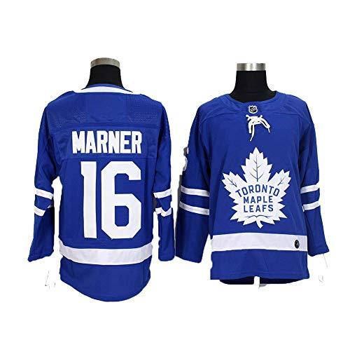 Yajun Mitch Marner#16 Toronto Maple Leafs Eishockey Trikots Jersey NHL Herren Sweatshirts Atmungsaktiv T-Shirt Bekleidung,Blue,M
