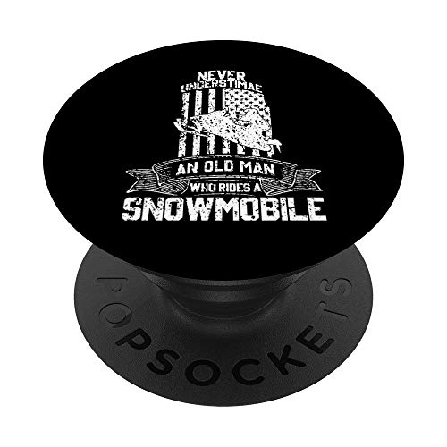 Never Underestimate An Old Man With Snowmobile Vintage MEN PopSockets PopGrip: Swappable Grip for Phones & Tablets