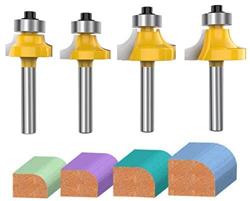 1/4 Inch Shank Roundover Edging Router Bit Set, Aplus Corner Rounding Edge Forming Bit Set, Woodworking Milling Cutter Tools 1/8
