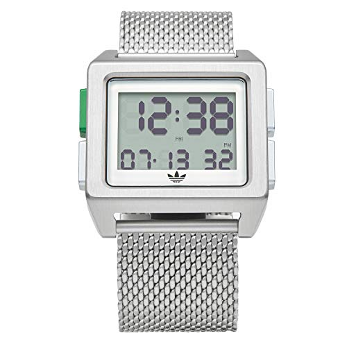 adidas Originals Watches Archive_M1. Men's 70's Style Stainless Steel Digital Watch with 5 Link Bracelet (36 mm) -Silver/White/Green