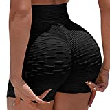 FITTOO Women's High Waisted Bottom Scrunch Butt Pants Textured Ruched Yoga Shorts Push up Butt Lift Trousers Black XL
