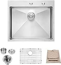 Lordear LT2522R1 25 x 22x 10 Inch Drop-in Topmount 16 Gauge R10 Tight Radius Stainless Steel Kitchen Sink Single Bowl