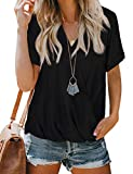 Summer Tops for Women V Neck Roll Sleeve Shirts Fashion Wrap Blouses Black S