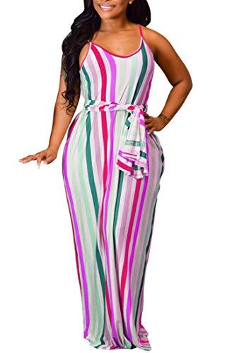LightlyKiss Maxi Vestidos Sexy Florales de Talla Grande con Tiras de Espaguetis Ajustables para Mujer con Bolsillos - - Small