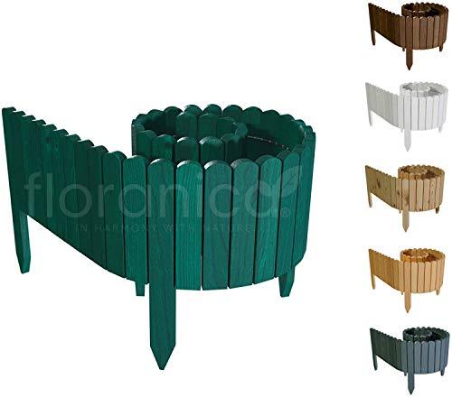 Floranica® Bordura Rollborder Recinto In Legno   Srotolatile Della 203 Cm (Accorciato)   Dei Paletti   Giardini   Steccato   Palizzata   Impregnato, Altezza:40 Cm, Colore:Verde