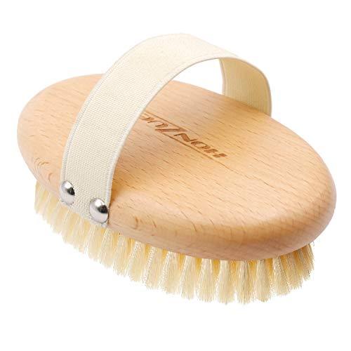 HONZUEN Körperbürste Naturborsten, Trockenbürste aus FSC-Zertifiziertem, Ideal Badebürste für Verbesserung von Durchblutung und Lymphdrainage, Straffung der Haut und Beseitigung von Cellulite