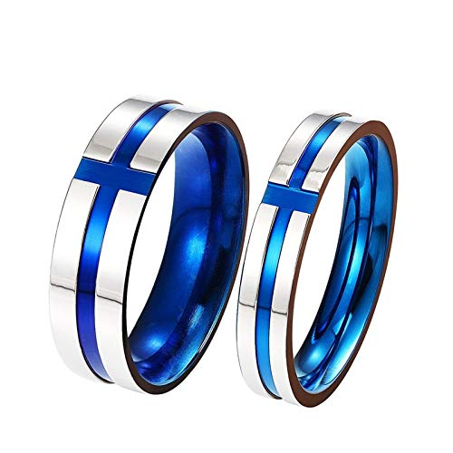 Epinki Stainless Steel Blue Cross Rings 2 Pcs Couple Ring for Lovers Promise Wedding Engagement Gifts Women Size 9 & Men Size 9