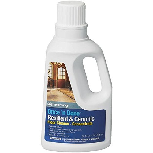 Armstrong Once'n Done Resilient & Ceramic Floor Cleaner Concentrate 32oz No-Rinse No-Wax New Package