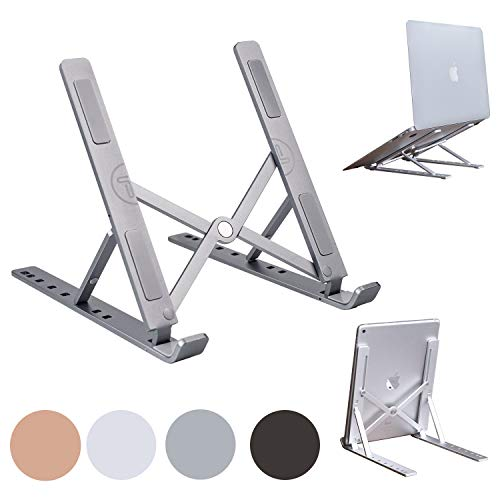 Portable Laptop Stand Foldable Aluminum Adjustable Laptop Stand for Desk with 7 Angle Adjustable Stand Compatible with MacBook Air, MacBook Pro, iPad and Tablet, Laptop. (Gray)