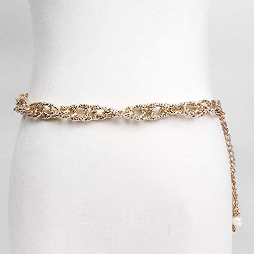 XKMY Cadena de cintura de metal para el vientre, cadena de moda, cadena de cintura, cadena de aluminio, collar y accesorios para mujeres (color: plata)