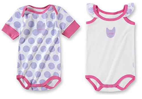 Schiesser Uncover by, 2er Set, Baby Body Mädchen, clean White + White dots, 137602+137601, Größe:74