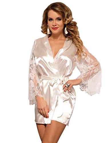 ohyeahlady Femmes Pyjamas Peignoirs en Soie Satin Kimono de Nuit Cour Sortir de Bain Grande Taille Manches Longues en Dentelle Transparent(Blanc,M)