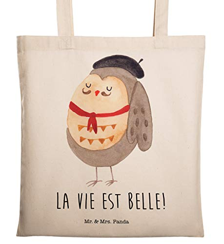 Mr. & Mrs. Panda Stofftasche, Baumwolltasche, Tragetasche Eule Französisch mit Spruch - Farbe