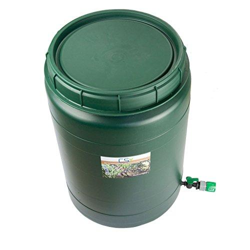 CS Drehdeckelfass 60 Liter grün mit Absperrhahn und GL Schnellschlauchstück für die drucklose Bewässerung