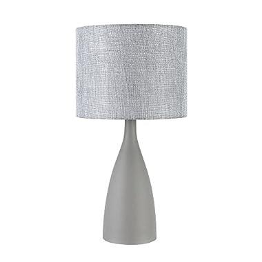 Globe Electric 12854 Della 22  Table Lamp, Concrete Finish Base, Gray Linen Shade, 0, Grey