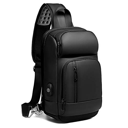 Sling Backpack for Men Cross Body Shoulder Backpack Chest Pack Bag with USB Charging Port Waterproof Lightweight Casual Daypack Fits 10.5 Inch Ipad