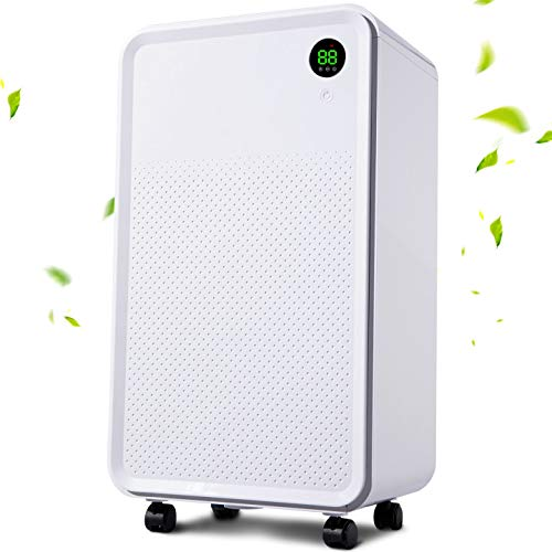 LUKO UP TO 2000sq.ft Ultra Quiet Dehumidifiers for Basements Removes Home Moisture to 20% with Continuously Drain Hose & Water Tank, Dehumidifiers for Bedroom,living room,One Key Operation with Dry Clothes Mode