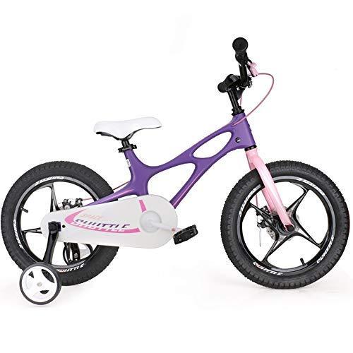 YSA Bicicleta para niños Bicicleta Ligera de magnesio para niños con Frenos de Disco, Adecuada para niños y niñas, Bicicleta de 14-16 Pulgadas con Rueda de Entrenamiento, 3 Colores Disponibles