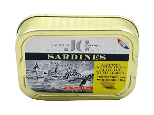 Sardinen in Zitrone und Olivenöl, 115g, Les Mouettes d'Arvor, Sardines au citron et à l'huile d'olive vierge extra, Les Mouettes d'Arvor, 115g