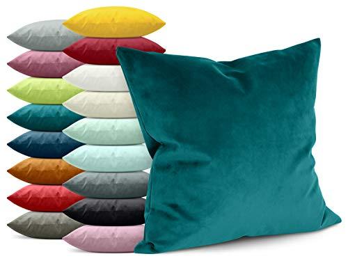 npluseins Samtkissenhülle - einfarbiges Design - erhältlich in 17 modischen Farben und in 4 verschiedenen...