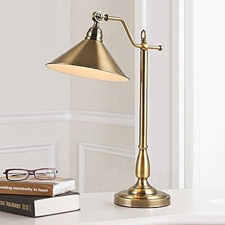 Susuo 北欧風 デスクライト 調節可能 卓上ライト 読書灯 レトロ風 スタンドライト LED対応 照明 おしゃれ テーブルランプ 雰囲気作りベッドサイドランプ 読書/寝室/仕事/等に最適 1灯 ブラス ss533402